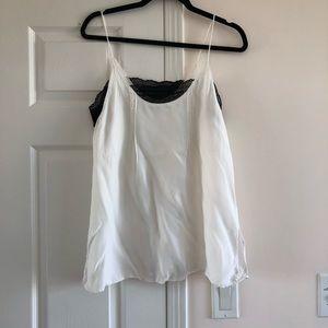 Zara White Straps Top with Black Lace Trim